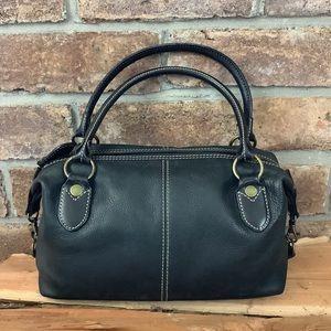 FOSSIL Black Leather Zip Satchel